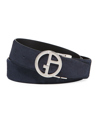 Men's Reversible Suede/Leather Logo-Buckle Belt