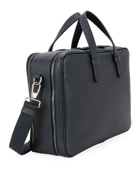 Giorgio Armani Men's Double-Zip Leather Briefcase Bag