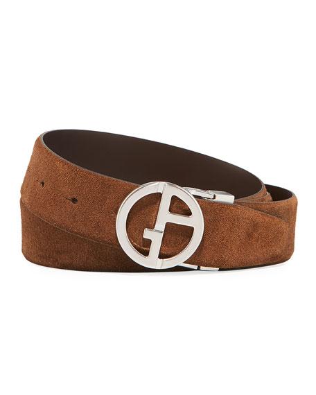 Giorgio Armani Men's Reversible Suede/Leather Logo-Buckle Belt