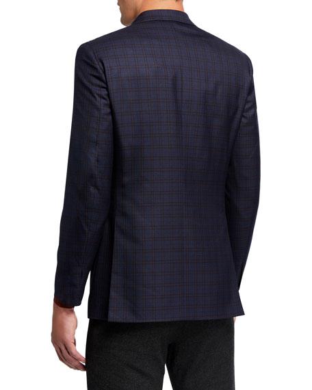 Brioni Men's Bluebrick Check Wool-Silk Sport Jacket