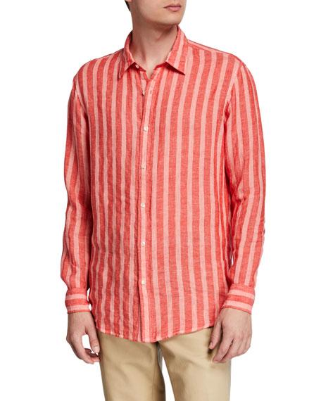 Michael Kors Men's Slim Luxe Linen Striped Sport Shirt