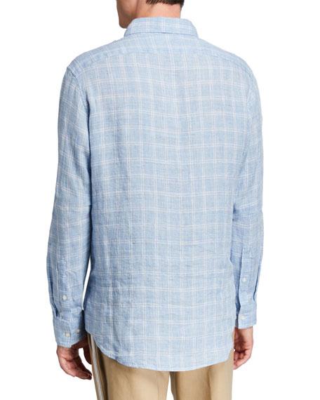 Michael Kors Men's Linen Melange Check Sport Shirt