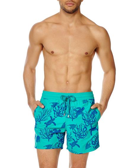 Vilebrequin Men's Moorea Coral & Turtle Swim Trunks