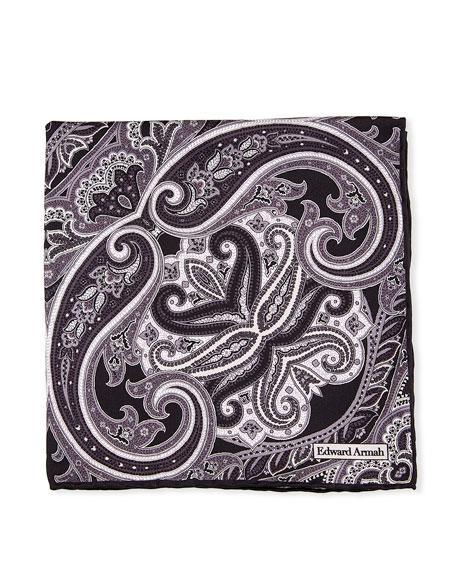 Edward Armah Large-Paisley Printed Silk Pocket Square