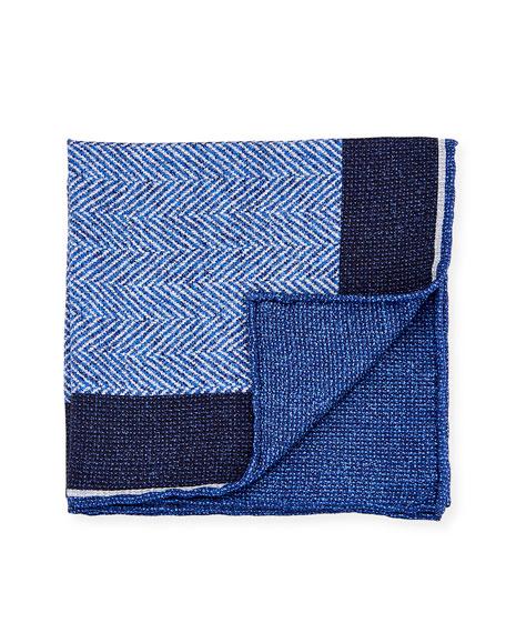 Edward Armah Reversible Chevron Silk Pocket Square, Blue