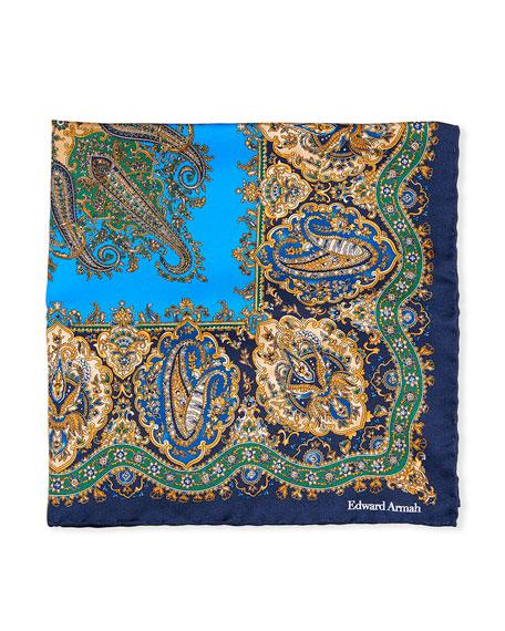 Edward Armah Paisley Printed Silk Pocket Square