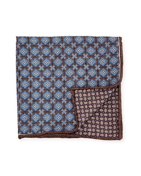 Edward Armah Reversible Medallion Printed Silk Pocket Square, Blue