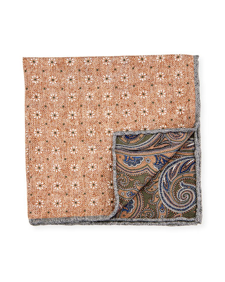 Edward Armah Reversible Floral/Paisley Printed Silk Pocket Square, Tan