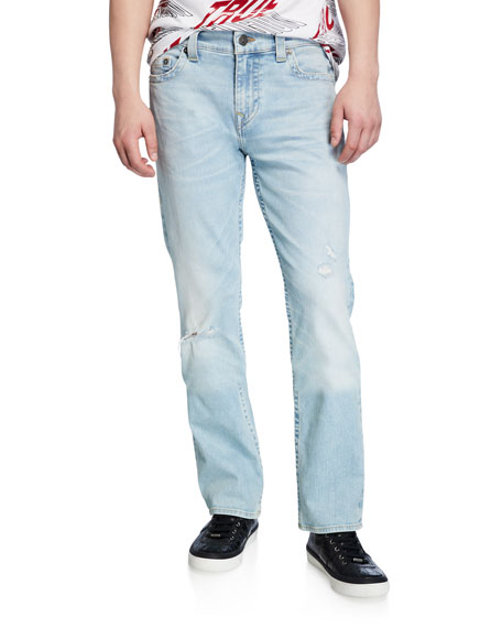 True Religion Men's Ricky Worn Blue Tide Straight-Leg Jeans