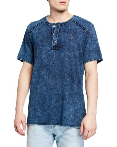 Men's Raw-Edge Henley T-Shirt