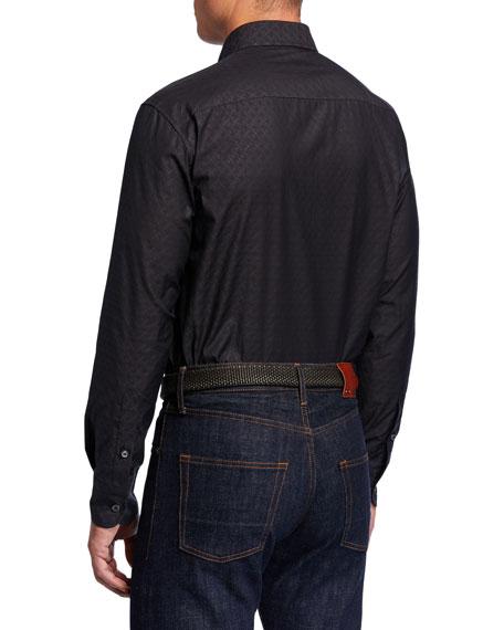 Brioni Men's Logo-Jacquard Sport Shirt