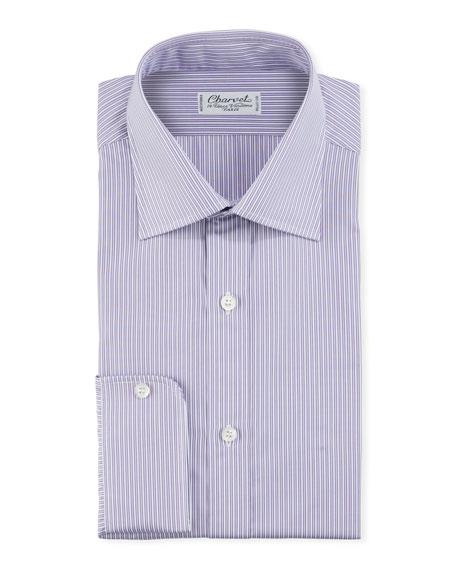 Charvet Men's Shadow-Stripe Cotton Dress Shirt