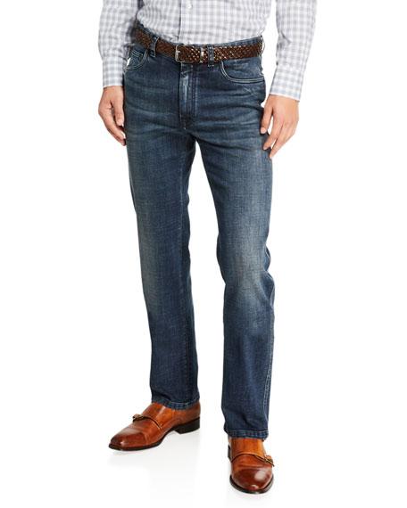 Brioni Jeans Men's Dark-Wash Straight-Leg Jeans