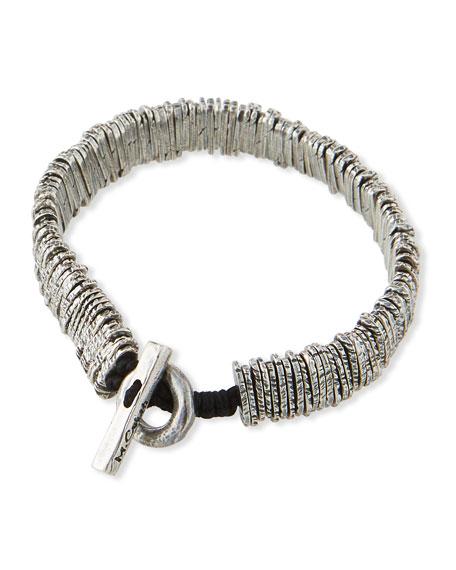 M. Cohen Men's Distressed Silver Barcode Bracelet