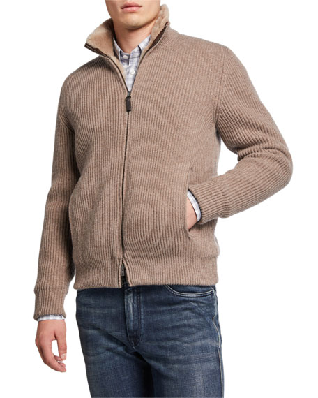Image 2 of 3: Brioni Men's Ribbed Wool-Cashmere Zip Sweater