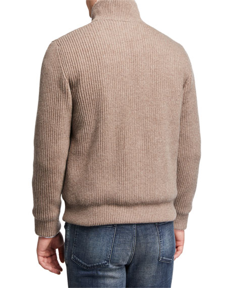 Image 3 of 3: Brioni Men's Ribbed Wool-Cashmere Zip Sweater