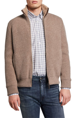Brioni Men's Ribbed Wool-Cashmere Zip Sweater