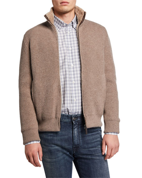 Image 1 of 3: Brioni Men's Ribbed Wool-Cashmere Zip Sweater