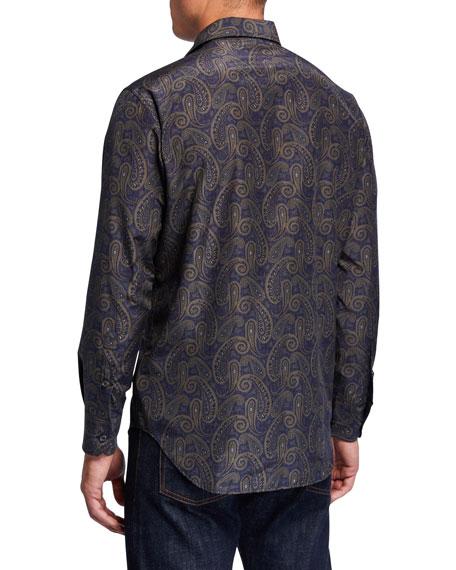 Brioni Men's Silk-Cotton Paisley Sport Shirt
