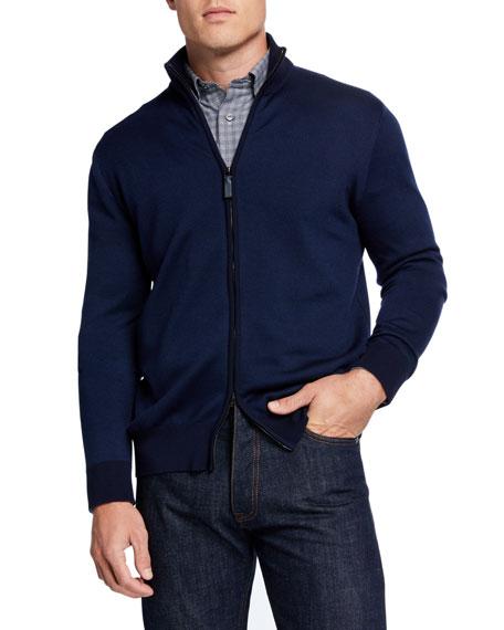 Brioni Men's Pique Zip-Front Sweater