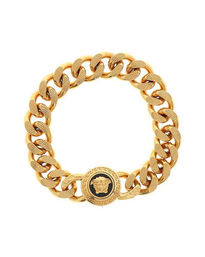 Men's Tribute Medusa Head Textured Link Bracelet