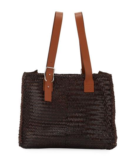 Loewe Men's Woven Leather Buckle Tote Bag