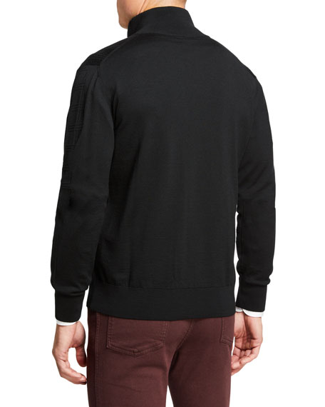 Brioni Men's Jacquard Wool Two-Way Zip Sweater