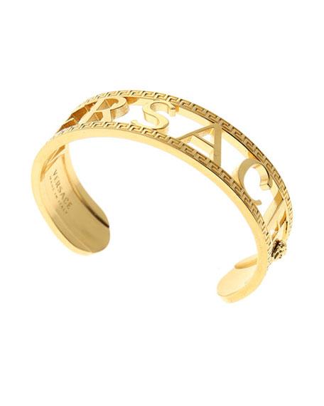 Versace Men's Logo/Greek Key Cuff Bracelet