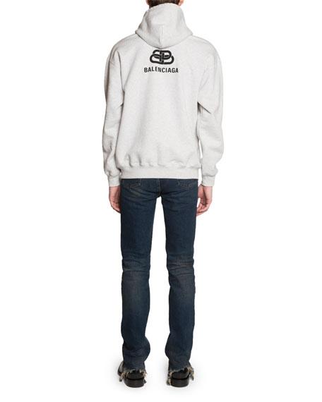 Balenciaga Men's Back-Logo Zip-Front Hoodie