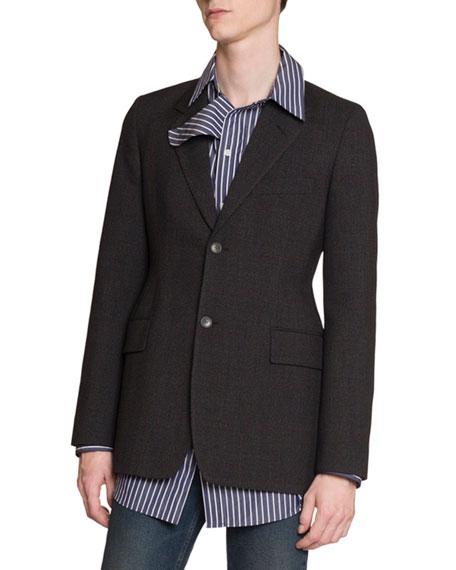 Balenciaga Men's Hourglass Plaid Two-Button Jacket