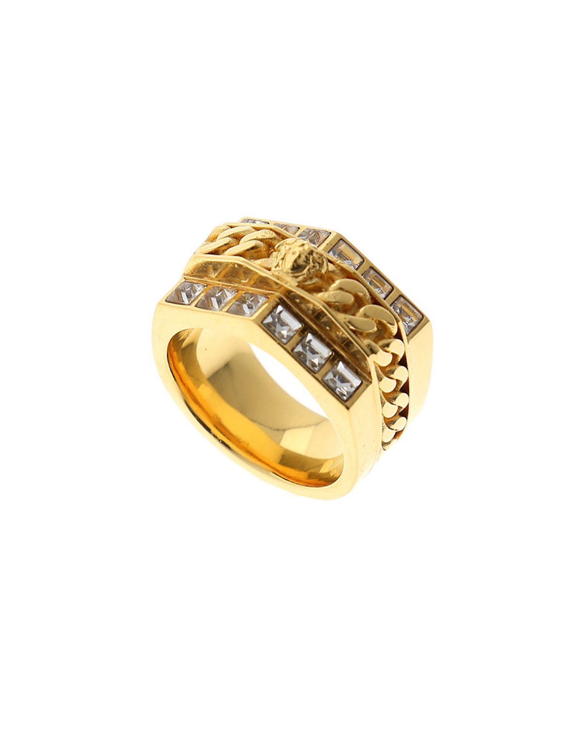 Versace Men S Medusa Head Chain Amp Crystal Pave Ring