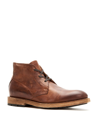 Men's Bowery Leather Lace-Up Chukka Boots, Tan