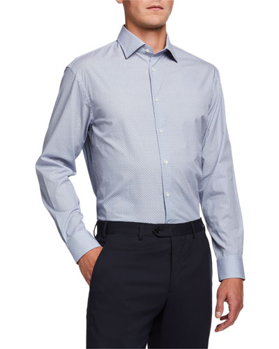 Men's Micro-Pattern Cotton Dress Shirt