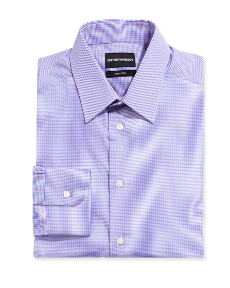 Emporio Armani Men's New York Check Cotton Dress Shirt