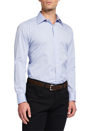 Charvet Men's Plaid Poplin Dress Shirt