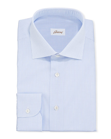 Brioni Men's Micro-Check Cotton Dress Shirt