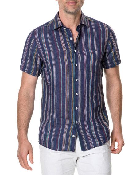 Rodd & Gunn Men's Harvey's Striped Linen Sport Shirt