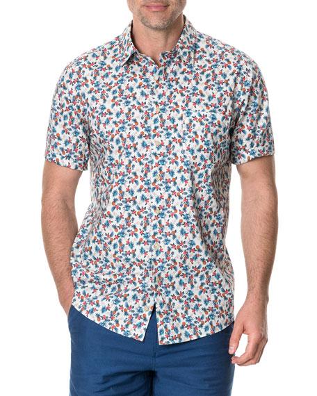 Rodd & Gunn Men's Kuri Bush Patterned Poplin Short-Sleeve Shirt