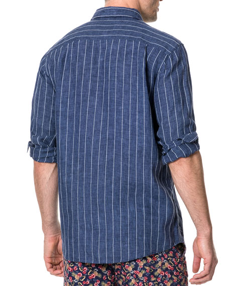 Rodd & Gunn Men's Mangle Valley Faded Stripe Linen Sport Shirt