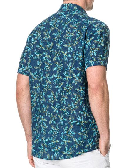 Rodd & Gunn Men's Forbes Faded Palm Tree Linen Sport Shirt