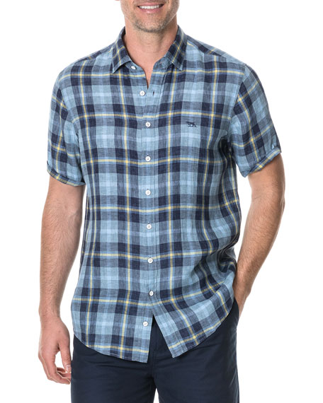Rodd & Gunn Men's Berwick Faded Check-Pattern Linen Sport Shirt