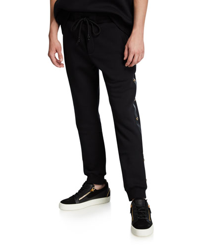 Men's Fleece Jogger Pants w/ Studded Leather Trim