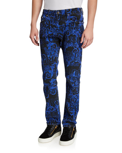Men's Baroque-Print Narrow-Fit Jeans