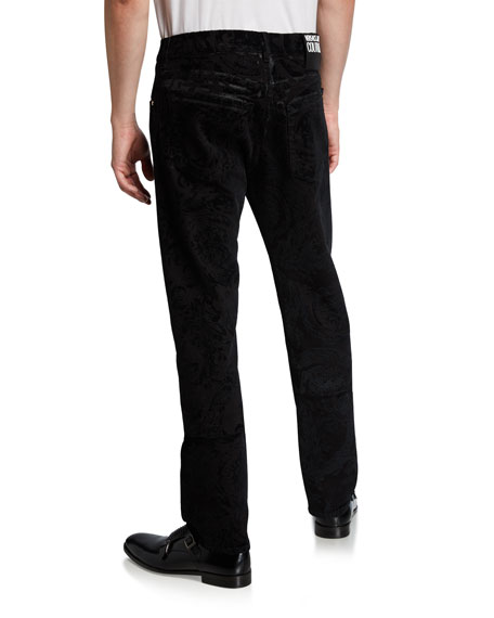 Versace Jeans Couture Men's Flocked Baroque Slim-Fit Jeans