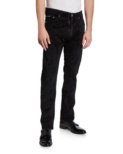 Men's Flocked Baroque Slim-Fit Jeans