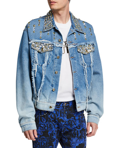 Men's Embellished Rip-and-Repair Denim Jacket