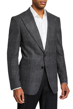 TOM FORD Men's Prince of Wales Plaid Shelton Peak Two-Button Jacket