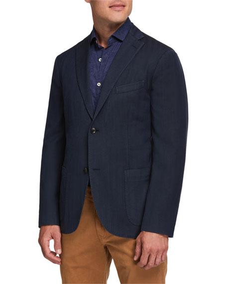 Boglioli Men's Herringbone Two-Button Jacket