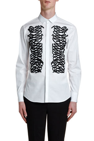 Neil Barrett Men's Ribbon-Trim Tuxedo Shirt