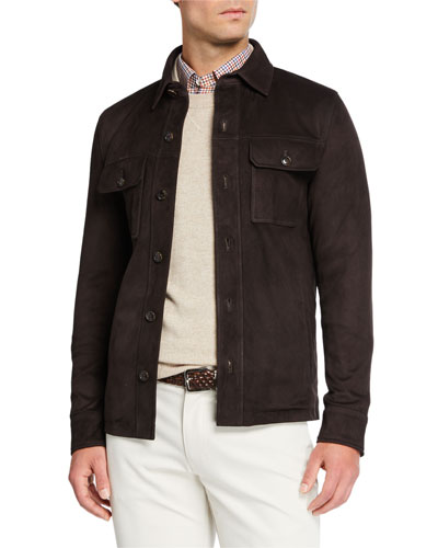 Men's Stretch Suede Button-Front Jacket